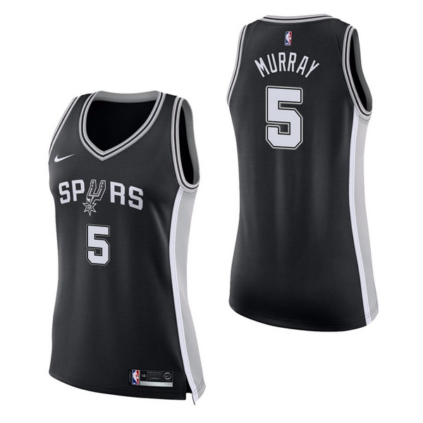Vendita Maglia NBA Donna San Antonio Spurs NO.5 Dejounte Murray Nero Icon
