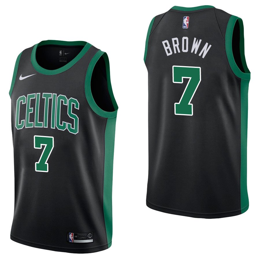 Vendita Maglia NBA Nike Boston Celtics NO.7 Jaylen Brown Nero Statement