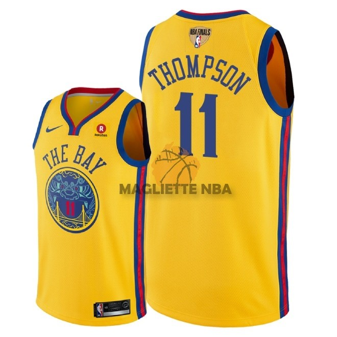Vendita Maglia NBA Golden State Warriors 2018 Campionato Finali NO.11 Klay Thompson Giallo Città Patch