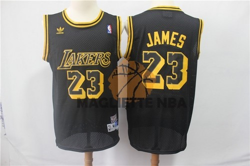 Vendita Maglia NBA Los Angeles Lakers NO.23 Lebron James Retro Nero