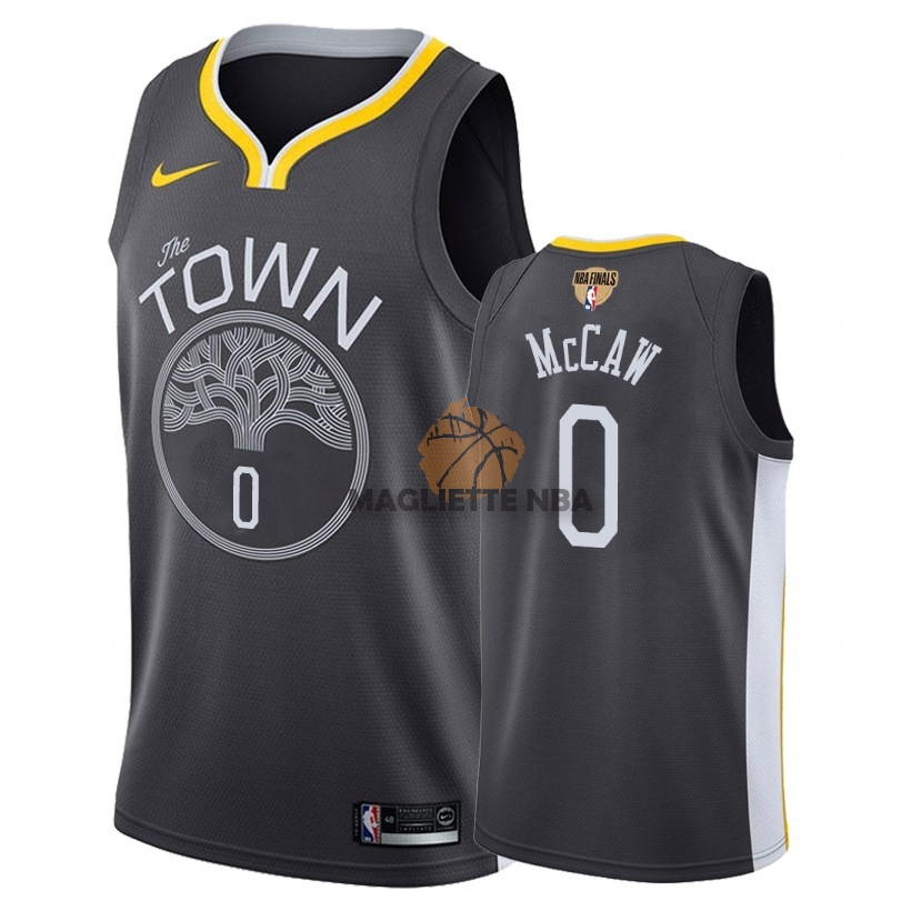 Vendita Maglia NBA Golden State Warriors 2018 Campionato Finali NO.0 Patrick McCaw Nero Statement Patch