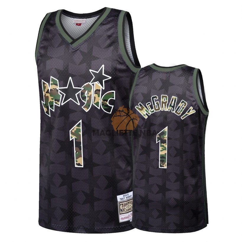 Vendita Maglia NBA Dritto Fire Camo Orlando Magic NO.1 Tracy McGrady Nero 2018