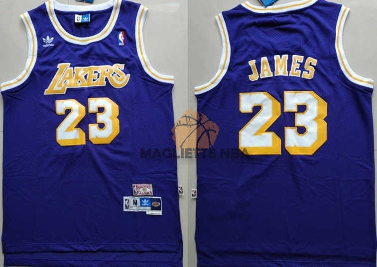 Vendita Maglia NBA Los Angeles Lakers NO.23 Lebron James Retro Porpora