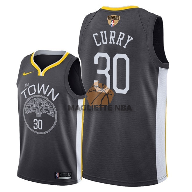 Vendita Maglia NBA Golden State Warriors 2018 Campionato Finali NO.30 Stephen Curry Nero Statement Patch