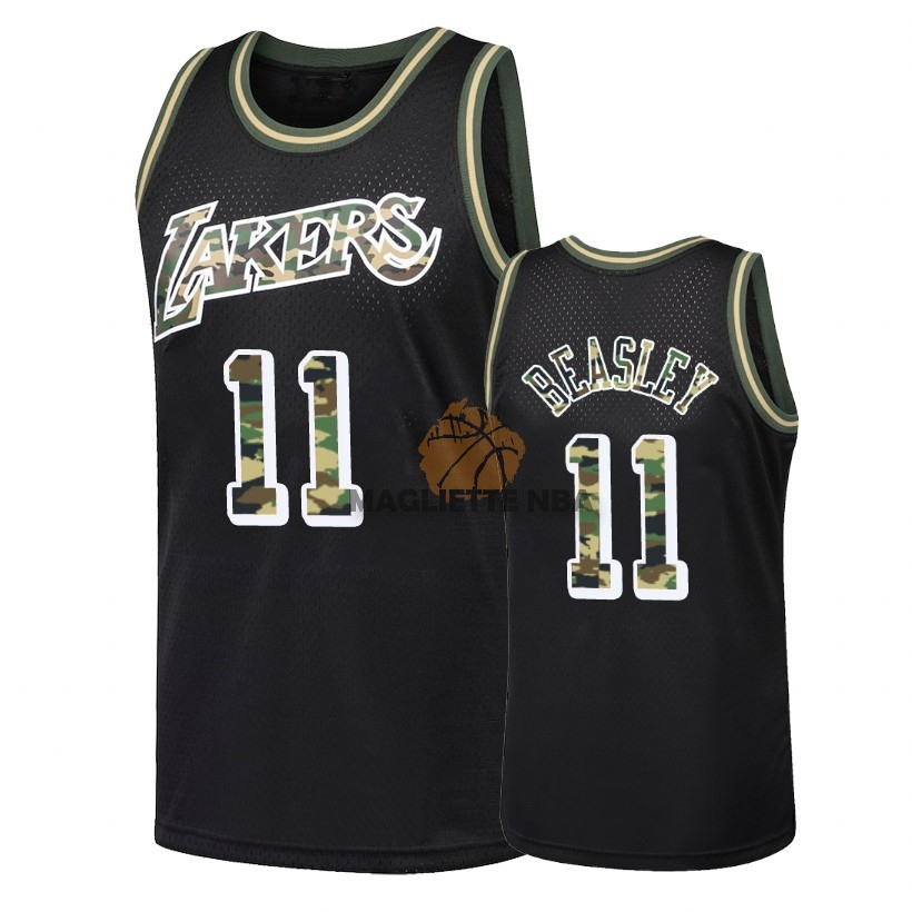 Vendita Maglia NBA Dritto Fire Camo Los Angeles Lakers NO.11 Michael Beasley Nero 2018