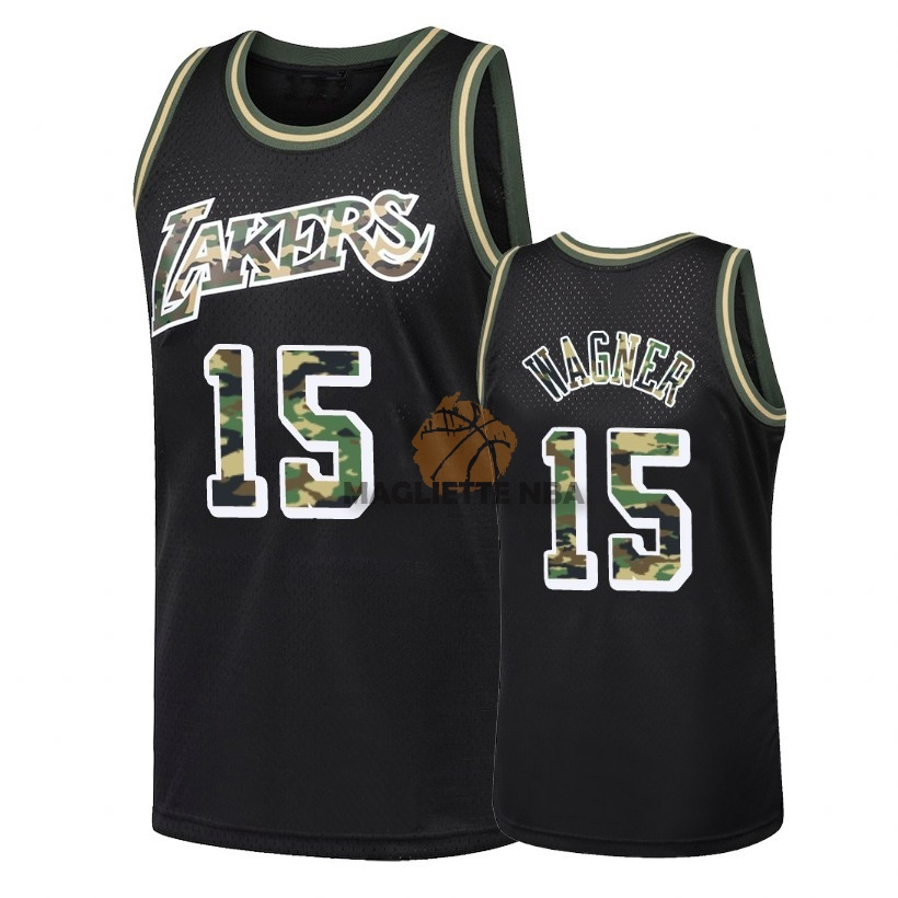 Vendita Maglia NBA Dritto Fire Camo Los Angeles Lakers NO.15 Moritz Wagner Nero 2018