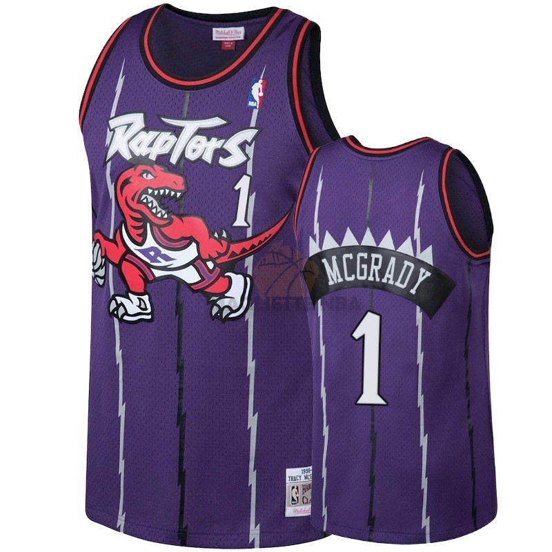 Vendita Maglia NBA Toronto Raptors NO.1 Tracy McGrady Porpora Hardwood Classic 1998-99