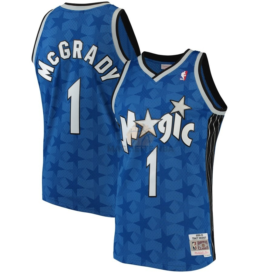 Vendita Maglia NBA Orlando Magic NO.1 Tracy McGrady Blu Hardwood Classics 2001-02