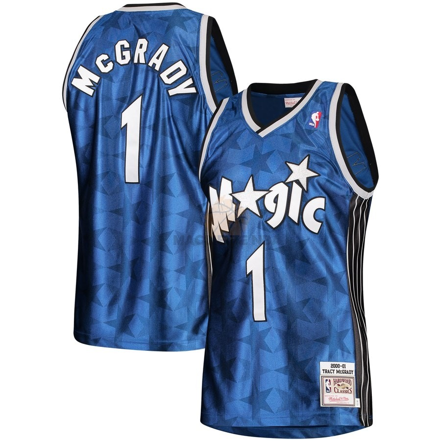 Vendita Maglia NBA Orlando Magic NO.1 Tracy McGrady Blu Hardwood Classics 2000-01