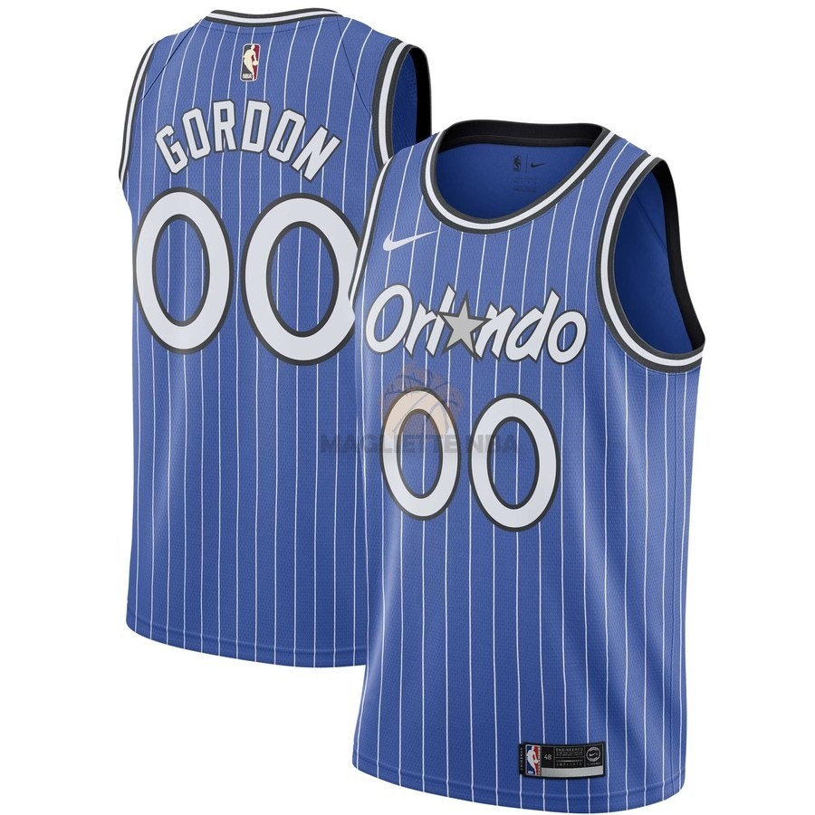 Vendita Maglia NBA Orlando Magic NO.0 Aaron Gordon Blu Hardwood Classics