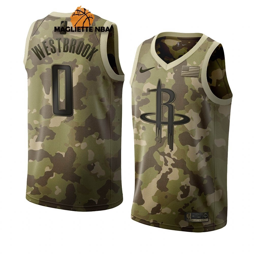 Vendita Maglia NBA Nike Houston Rockets NO.0 Russell Westbrook Camouflage 2019