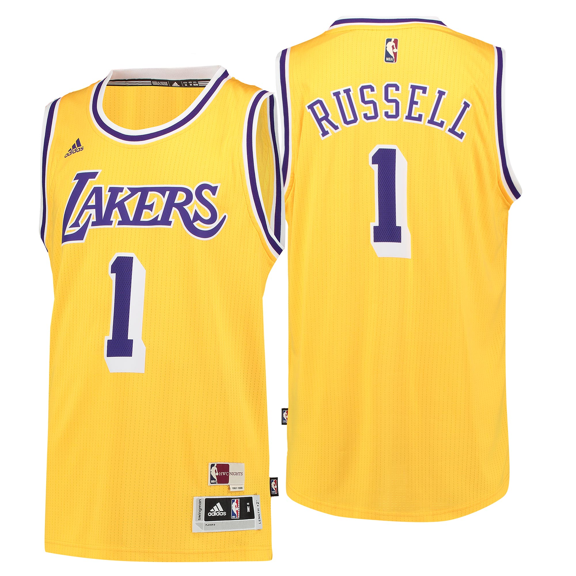 Vendita Maglia NBA Los Angeles Lakers NO.1 D'Angelo Russell Retro Blu