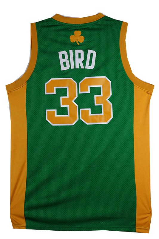 Vendita Maglia NBA Boston Celtics No.33 Larry Joe Bird Verde Arancia