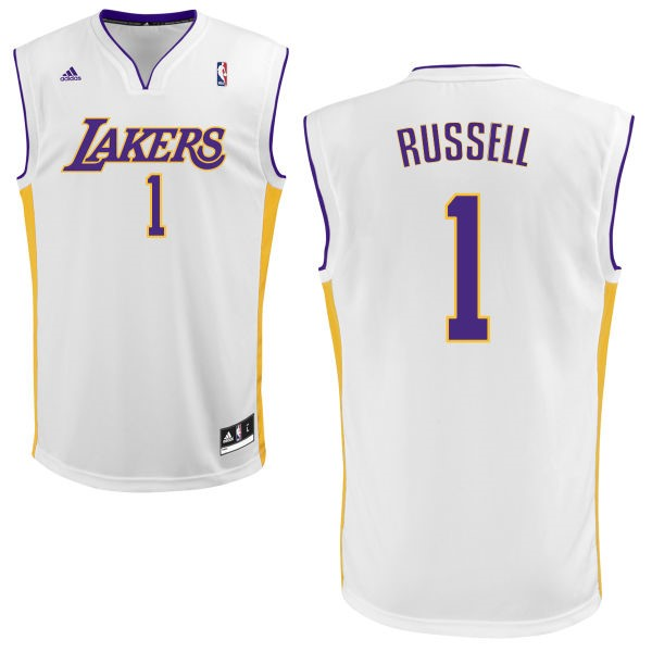 Vendita Maglia NBA Los Angeles Lakers NO.1 D'Angelo Russell Bianco