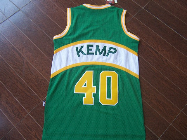 Vendita Maglia NBA Seattle Supersonics NO.40 Shawn Kemp Verde
