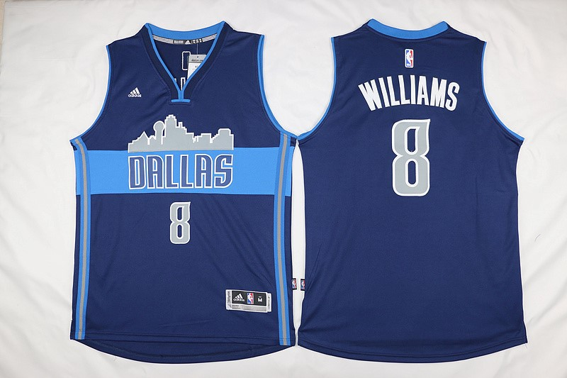 Vendita Maglia NBA Dallas Mavericks NO.8 Deron Michael Williams Blu Profundo
