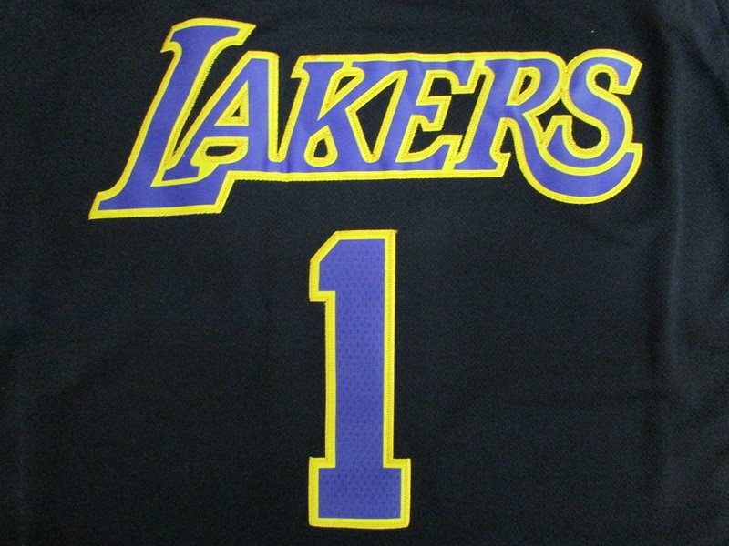 Vendita Maglia NBA Los Angeles Lakers NO.1 D'Angelo Russell Nero