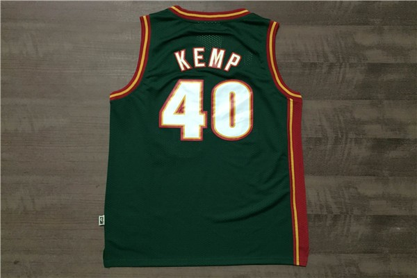 Vendita Maglia NBA Seattle Supersonics NO.40 Shawn Kemp Retro Verde